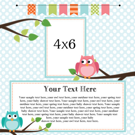 Owl scrapbooking template with banner or bunting and 4x6 frames for photos or text, vector format. Illustration
