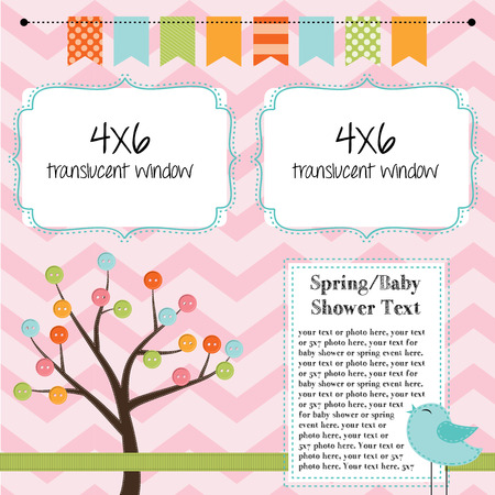 season photos: Spring, baby shower, or summer layout with trees, birds and banner or bunting, background for scrapbooking, vector format