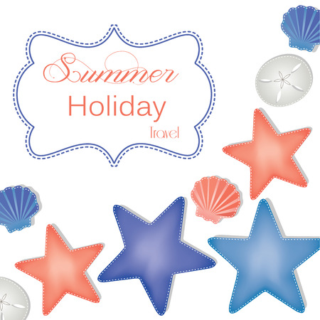 Beach and ocean layout with starfish, sand dollars and shells for summer, holiday and vacation transparent background for scrapbooking, vector format. Vector