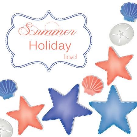 fondo transparente: La playa y el oc�ano dise�o con estrellas de mar, d�lares de arena y conchas de verano, vacaciones y fondo transparente vacaciones para scrapbooking, formato vectorial.