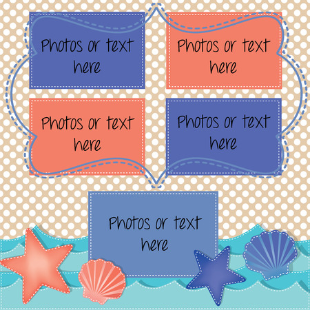 Beach and ocean layout with starfish and shells for summer, holiday and vacation background for scrapbooking, vector format Vector