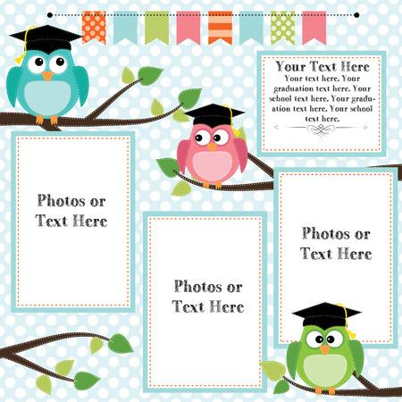 Eulen tragen Abschlusskappen mit Banner und Wimpelgirlanden für Text, Layout für die Fotos, Text oder scrapbooking, Vektor-Format Standard-Bild - 27747540