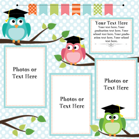 Owls wearing graduation caps with banner or bunting for text, layout for photos, text or scrapbooking, vector format