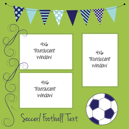layout: Soccer or football layout, with ball and banners or bunting for text, translucent windows for text or scrapbooking, vector format.