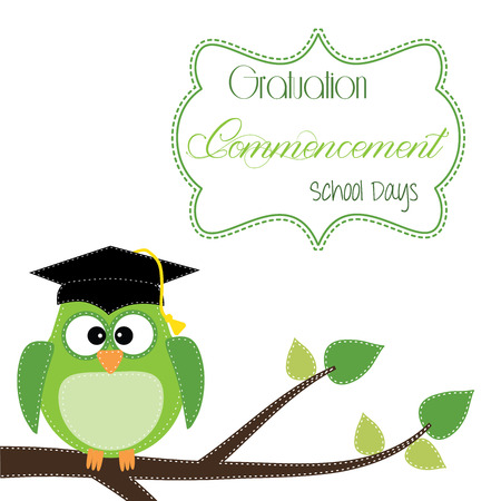 stitched: Owl with graduation cap sitting on branch, for scrapbooking, vector format on transparent background. Illustration