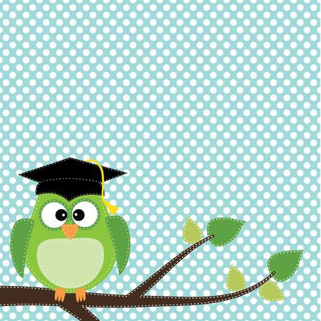 colleges: B�ho con gorro de graduaci�n sentado en la rama, para �lbumes de recortes, en formato vectorial sobre fondo transparente.