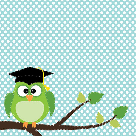 graduation ceremony: Owl with graduation cap sitting on branch, for scrapbooking, vector format on transparent background. Illustration