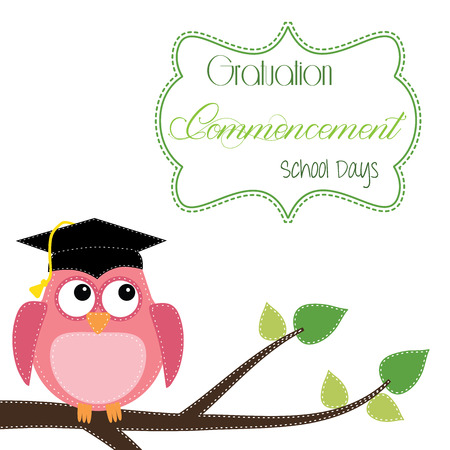 owl vector: Owl with graduation cap sitting on branch, for scrapbooking, vector format on transparent background. Illustration