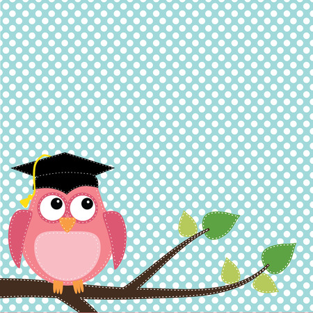 cap: Owl with graduation cap sitting on branch, for scrapbooking, vector format on transparent background. Illustration