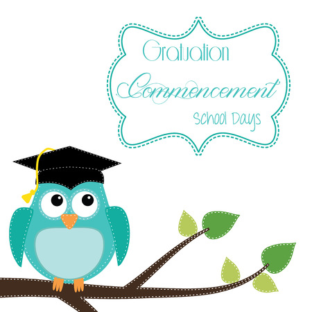 Owl with graduation cap sitting on branch, for scrapbooking, vector format on transparent background. Vectores
