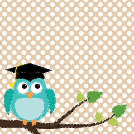 gorros de graduacion: Búho con gorro de graduación sentado en la rama, para álbumes de recortes, en formato vectorial sobre fondo transparente.