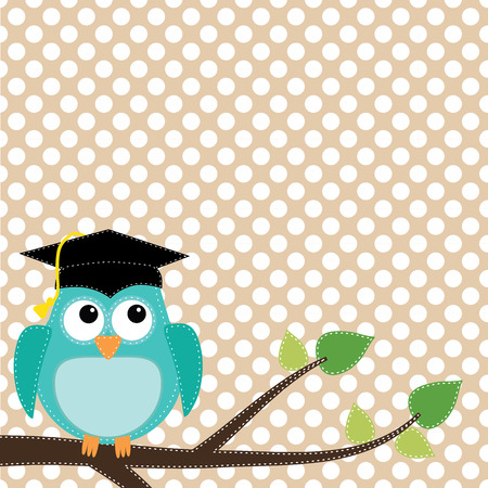 commencement: Owl with graduation cap sitting on branch, for scrapbooking, vector format on transparent background. Illustration