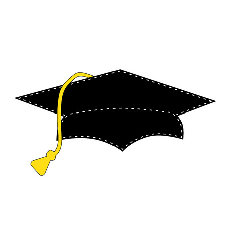 cartoon graduation: Black graduation cap with white stitching, scrapbooking element, vector format Illustration