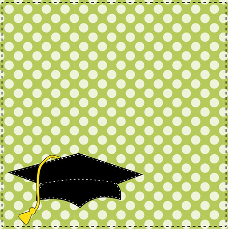 jr: Black graduation cap with white stitching on polka dot background, scrapbooking layout, vector format Illustration