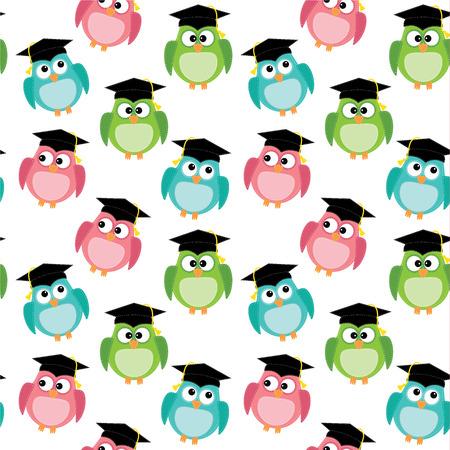 kapaklar: Şeffaf arka plan, vektör formatında mezuniyet kep kesintisiz desen ile baykuşlar