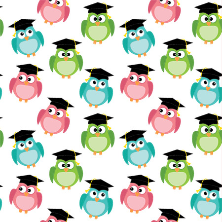 Owls with graduation caps seamless pattern, on transparent background, vector format
