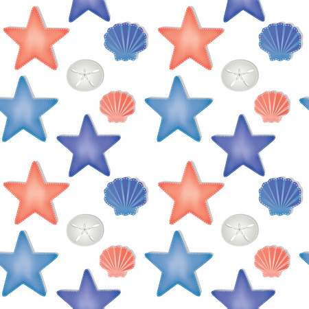 Sea shells and starfish seamless pattern on a transparent background, scrapbooking paper, vector format Illustration