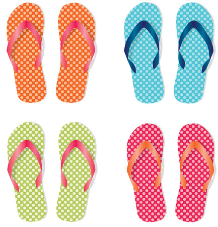 Group of four flip flops or sandals with different colors of polka dots, vector format.