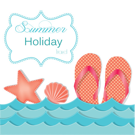 flops: Ocean waves with flip flops or sandals and starfish and shells, frame for text, vector format