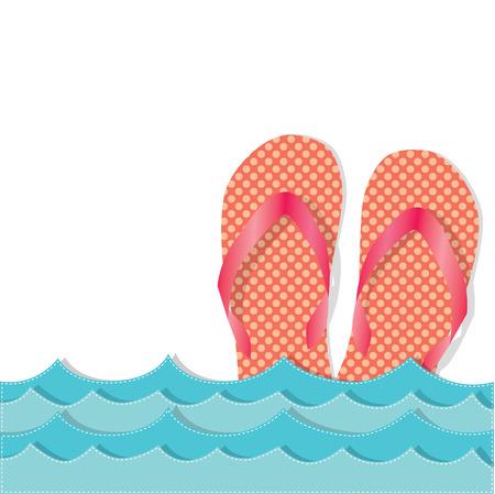 Ocean waves with flip flops or sandals, transparent background, vector format Vector