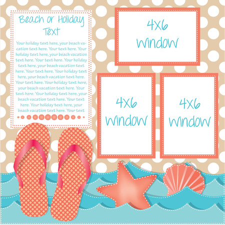 Ocean waves with flip flops or sandals and sea shells, frames for text, scrapbooking layout, vector format Çizim