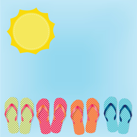 summer holiday: Group of four flip flops or sandals on blue sky background and sun, vector format Illustration