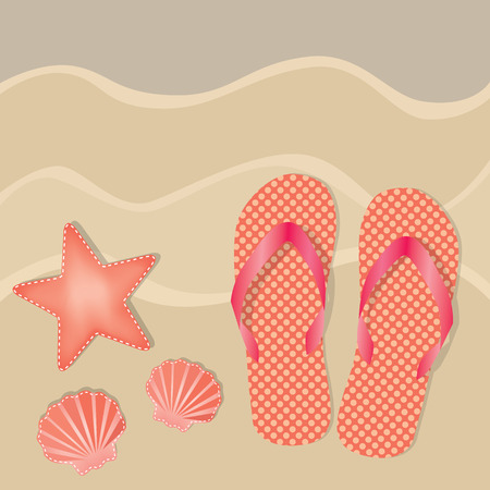 Flip flops or sandals with orange polka dots on a sandy beach background with shells and starfish, vector format
