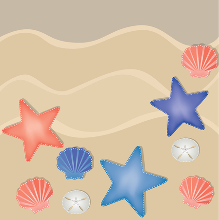 sand dollar: Shells, starfish and sand dollars on a sandy beach background, vector format