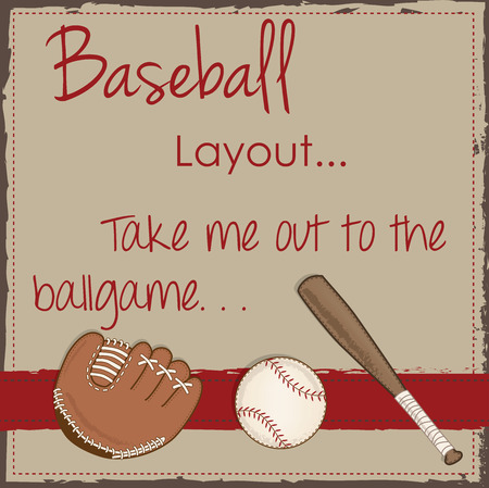 taped: Vintage baseball, glove or mitt and wooden bat layout for scrapbooking, cards or backgrounds, vector format