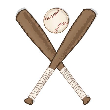vintage baseball and wooden bat on transparent background vector format Illusztráció