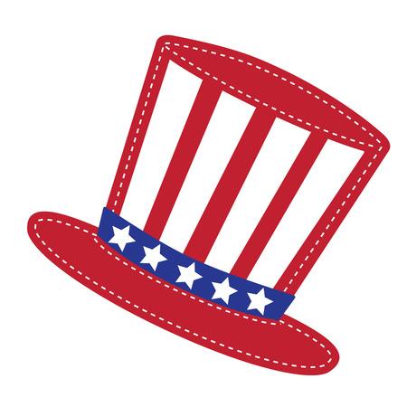 sam: Patriotic Uncle Sam hat, transparent background, vector format Illustration