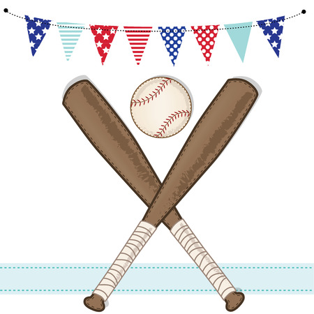 stitched: Baseball and bat with american patriotic banners and frame, layout for scrapbooking or cards, transparent background, vector format