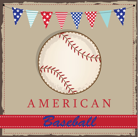 Vintage baseball layout with american patriotic flags or bunting, for scrabooking or cards, vector format. Vector