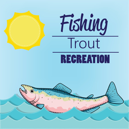 Trout swimming in a stream or water with a sunny background, vector format