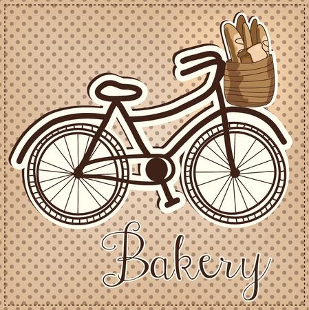pan frances: Retro o en bicicleta de la vendimia con una cesta llena de pan con un fondo del lunar para una panader�a, formato vectorial