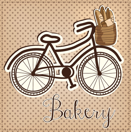 pedaling: Retro or vintage bicycle with a basket full of bread with a polka dot background for a bakery, vector format