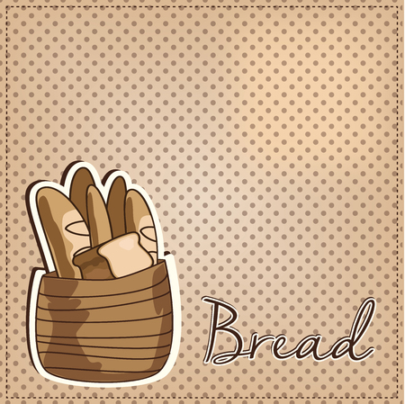 baking bread: Vintage basket full of bread on polka dot background, vector format