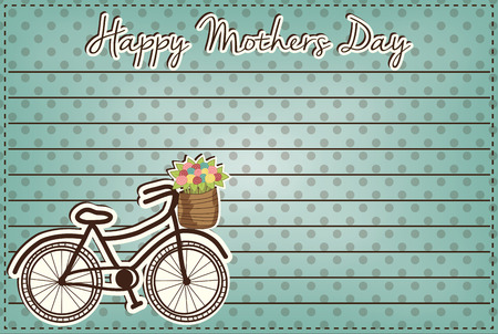 Retro or vintage bicycle with a basket full of flowers, mothers day card 4x6, vector format Vector