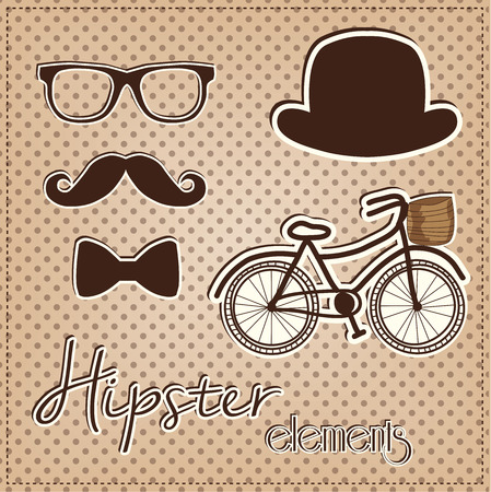 Hipster element collection, vintage or retro eye glasses, mustache, bow tie, hat and bicycle on a polka dot background, for scrapbooking, vector format. Vector