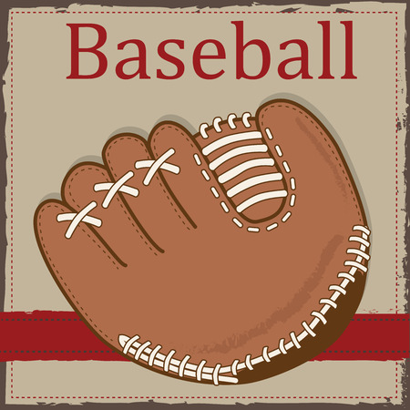 mitt: Vintage baseball glove or mitt layout for scrapbooking, cards or backgrounds, vector format