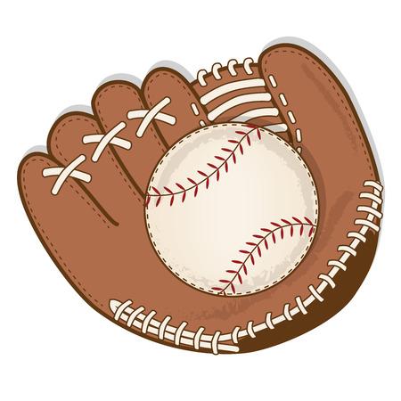 빈티지 야구와 야구 글러브 또는 미트 벡터 형식 일러스트