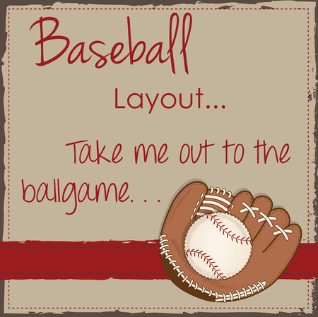 taped: Vintage baseball and glove or mitt layout for scrapbooking, cards or backgrounds, vector format