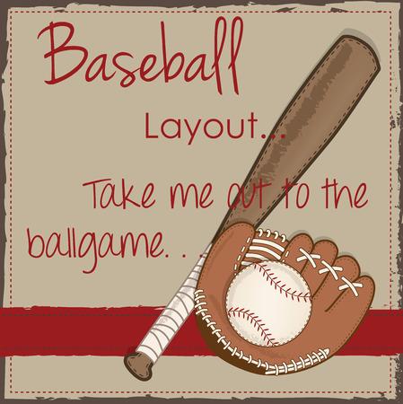 guante de beisbol: Béisbol de la vendimia, guante o manopla y el diseño del palo de madera para scrapbooking, tarjetas o fondos, formato vectorial