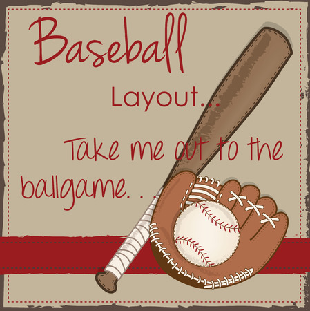 mitt: Vintage baseball, glove or mitt and wooden bat layout for scrapbooking, cards or backgrounds, vector format