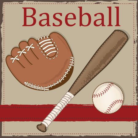 Baseball vintage, gant ou une mitaine et la disposition de batte en bois pour scrapbooking, cartes ou les origines, format vectoriel