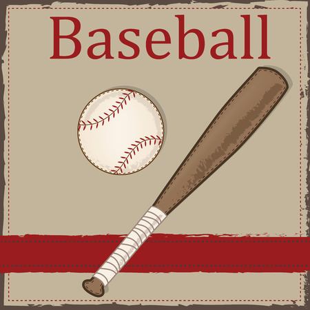 Vintage Baseball And Wooden Bat Layout For Scrapbooking Cards Or Backgrounds Vector Format