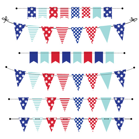 banner, bunting or flags in red white and blue patriotic colors, for scrapbooking, vector format Vectores