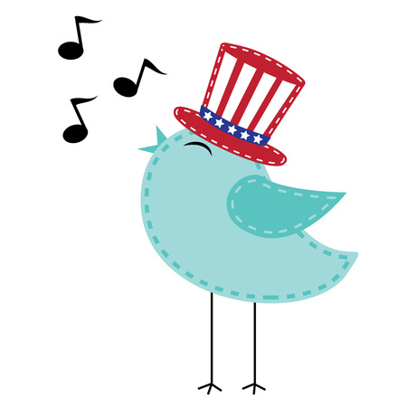 Patriotic bird wearing uncle sam hat singing with notes, transparent background, vector format