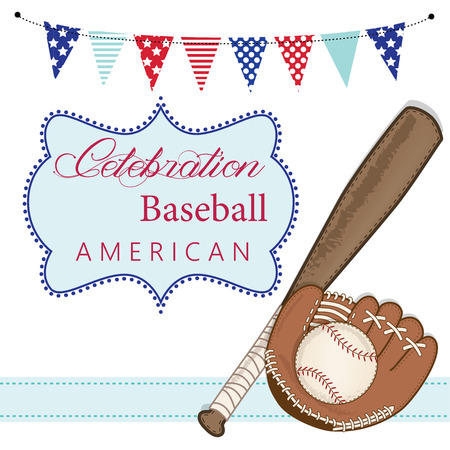 Baseball, mitt or glove, and bat with american patriotic banners and frame, layout for scrapbooking or cards, transparent background, vector format Vector
