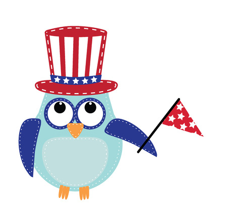 Owl wearing a patriotic uncle sams hat holding a flag, transparent background, vector format. Stock Illustratie